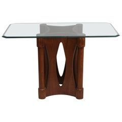 Mid-Century Modern Teak Architectural Base Dining Table