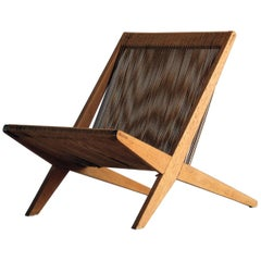 Poul Kjaerholm & Jørgen Høj (Attribution) Lounge Chair, Oak, Rope, Denmark 1950s