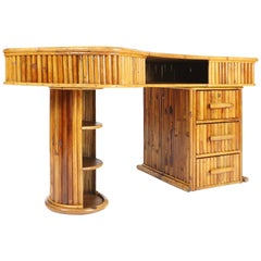 Curved 1950s French Bamboo Desk
