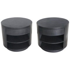Vintage Round Iron Coated One Drawer End Tables or Nightstands