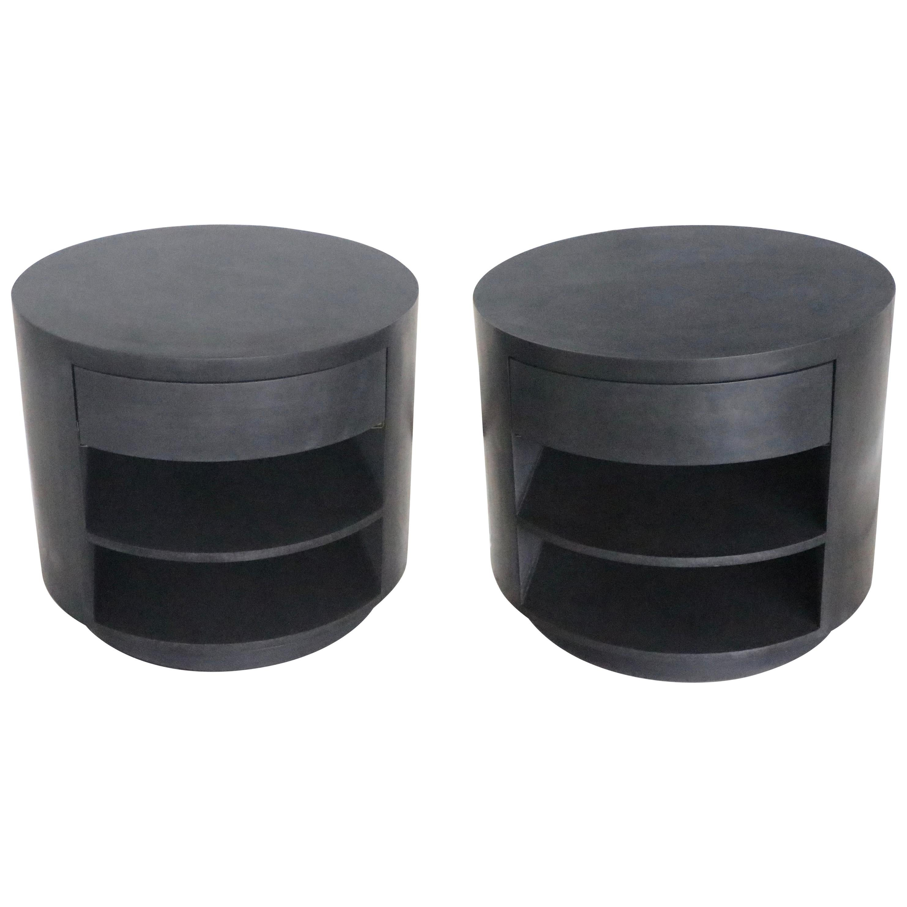 Vintage Round Iron Coated One Drawer End Tables Or Nightstands For Sale