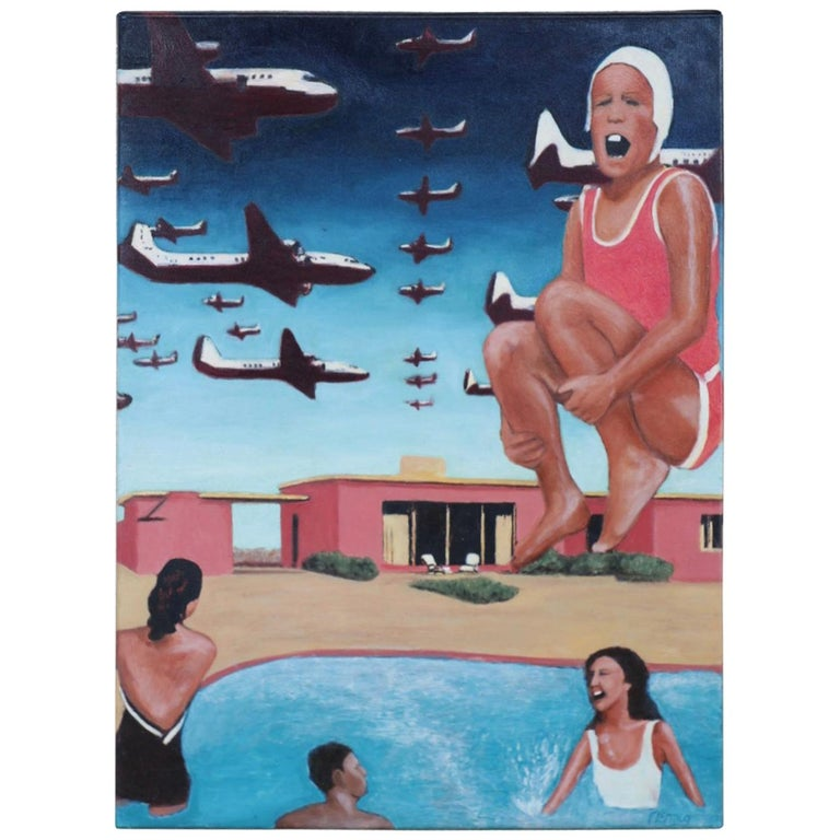 "Oil by Noted Florida Artist Jay Fleming ""Houses for the Atomic Age"" For Sale"