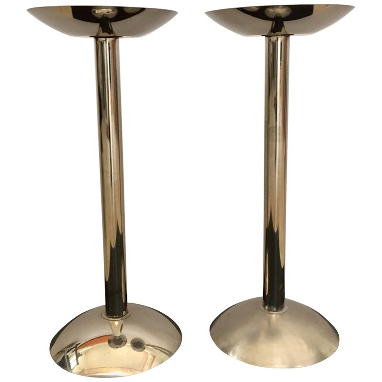 Standing Floor Metal Ashtrays in Knoll Tulip Style For Sale