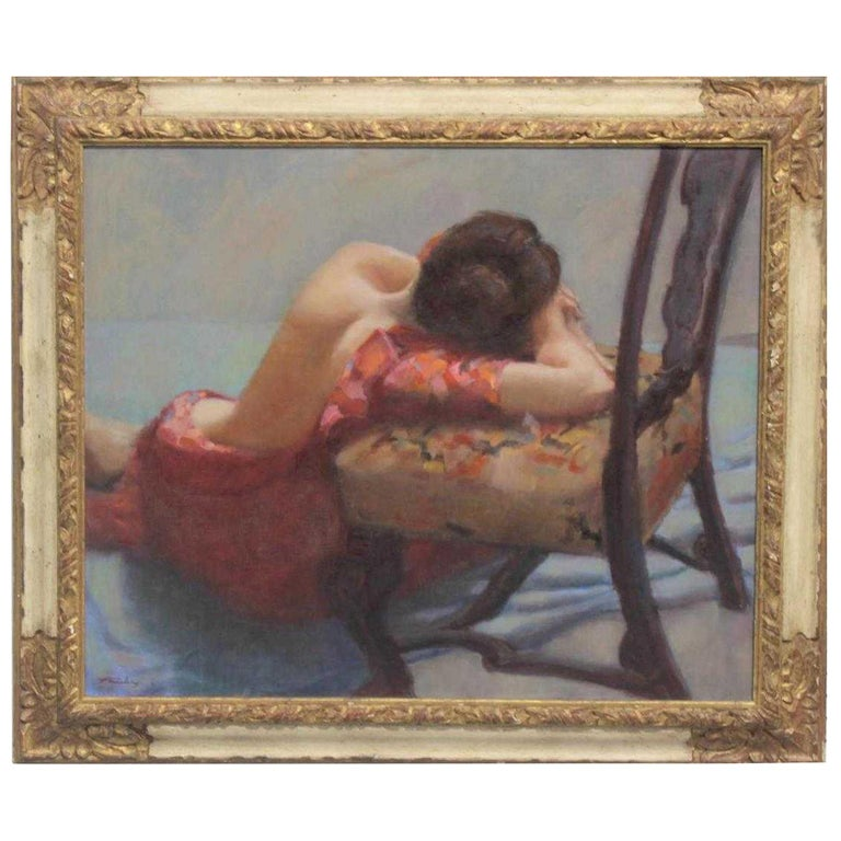 "American Oil on Canvas ""Repose"" Signed J. Fairclough '61 For Sale"
