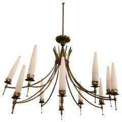 Mid-Century Modern Brass and Glass Twelve Lights Italian Chandelier, circa 1950
