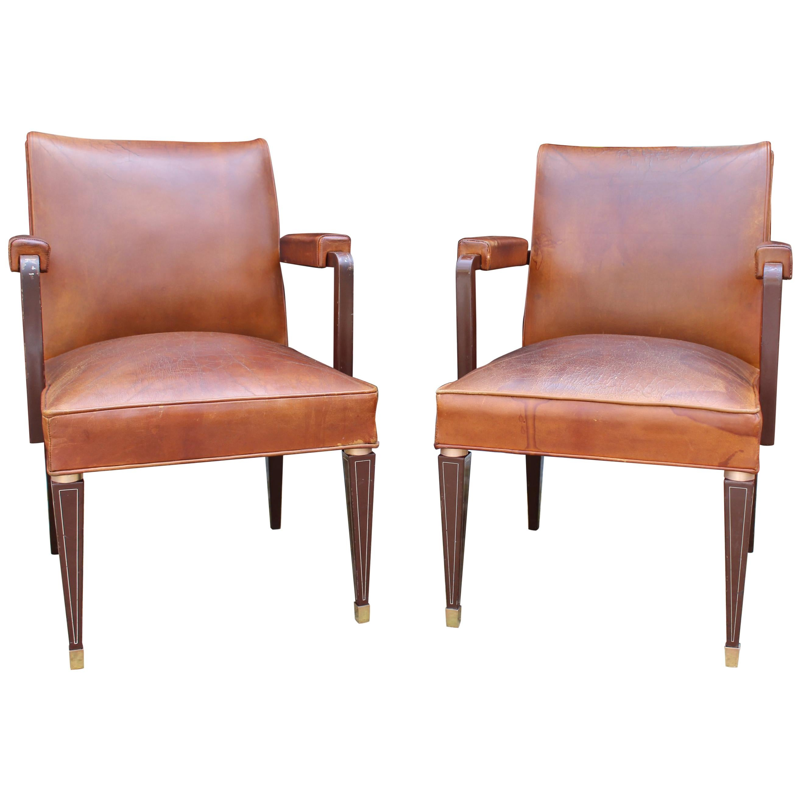 1950s Pair of Spanish Brown Leather and Brass Fittings Classical Armchairs