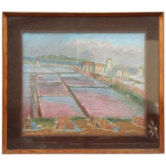 Oil of the 1960s Italian Represents the Saltworks of the Island of Mozia Trapani