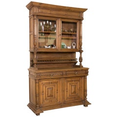 Cupboard Oak, Metal, Glass, 19th Century