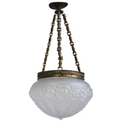 Late 19th Antique Art Nouveau Pendant Lamp with Carved Frosted Glass