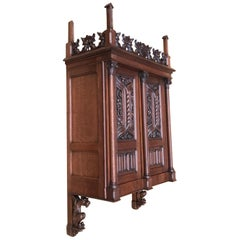 Antique Gothic Revival Hand Carved Oak Wall Cabinet with Gargoyles Sculptures