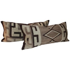 Navajo Indian Weaving Bolster Pillows, Pair