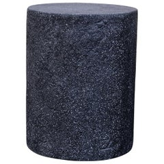 Cast Resin 'Dock' Stool & Side Table, Coal Stone Finish by Zachary A. Design
