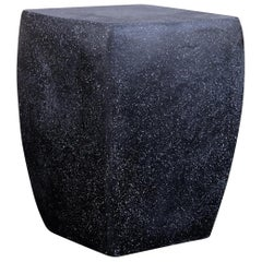 Cast Resin 'Van Dyke' Stool & Side Table, Coal Stone Finish by Zachary A. Design