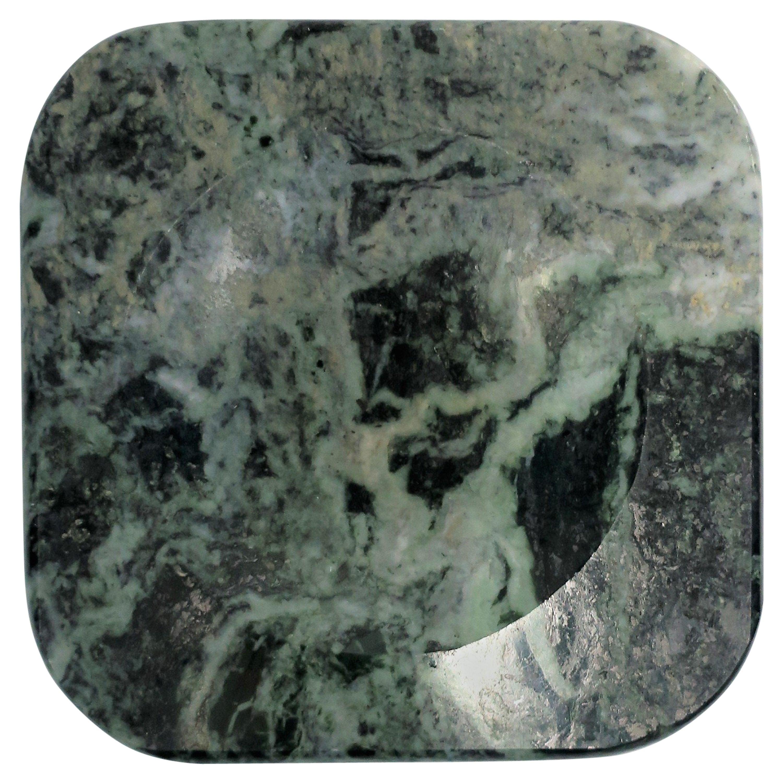 Italian Modern Dark Green and White Marble Vessel Vide-Poche, circa 1970s