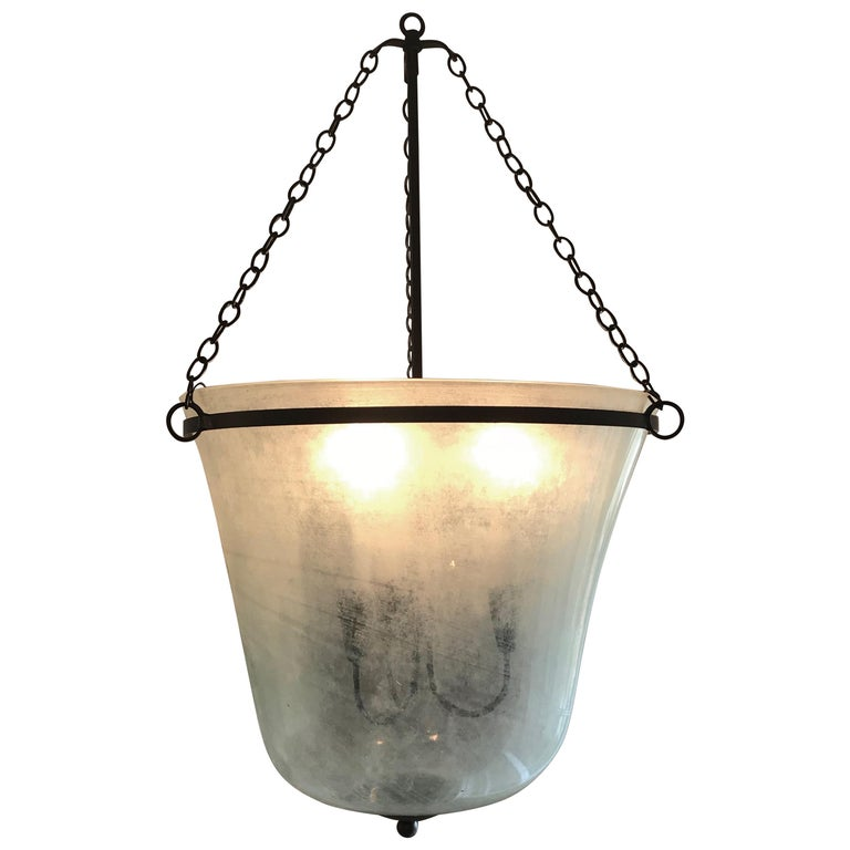 French 19th Century Handblown Glass Bell Cloche Hanging Light For Sale