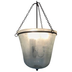 French 19th Century Handblown Glass Bell Cloche Hanging Light