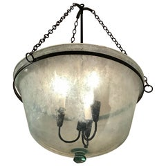 French 19th Century Handblown Glass Melon Cloche Hanging Light