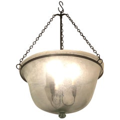French 19th Century Hand Blown Glass Melon Cloche Hanging Light