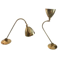 Baldinger Architectural Adjustable Brass Table Lamps