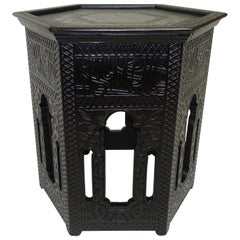 Ebonized Moorish Style Tabouret Side Table