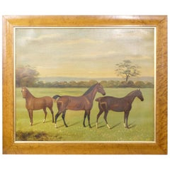 Large Naive 19th Century Oil Painting on Canvas of Three Horses in a Landscape