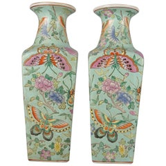 Antique Chinese Famille Rose Enameled Butterfly Ceramic Signed Vases, circa 1900