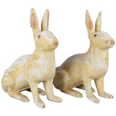 Pair of Large and Antique Figural Painted Cast Iron Sculptural Rabbit Doorstops