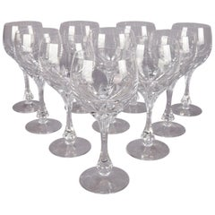 Set of 10 Gorham Isabella Cut Crystal Burgundy Wine Goblets, circa 1950