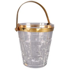French Sevres Cut Crystal and Gilt Handled and Open Ice Bucket, 20th Century