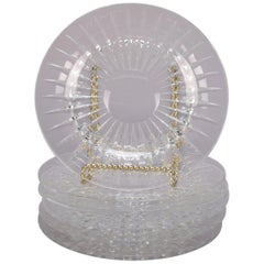 Set of 6 Belgian Val Saint Lambert Cut Crystal Dessert Plates, Sunburst Pattern