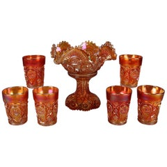 7 Pieces Antique Iridized Marigold Carnival Glass Compote & Cups, circa 1930