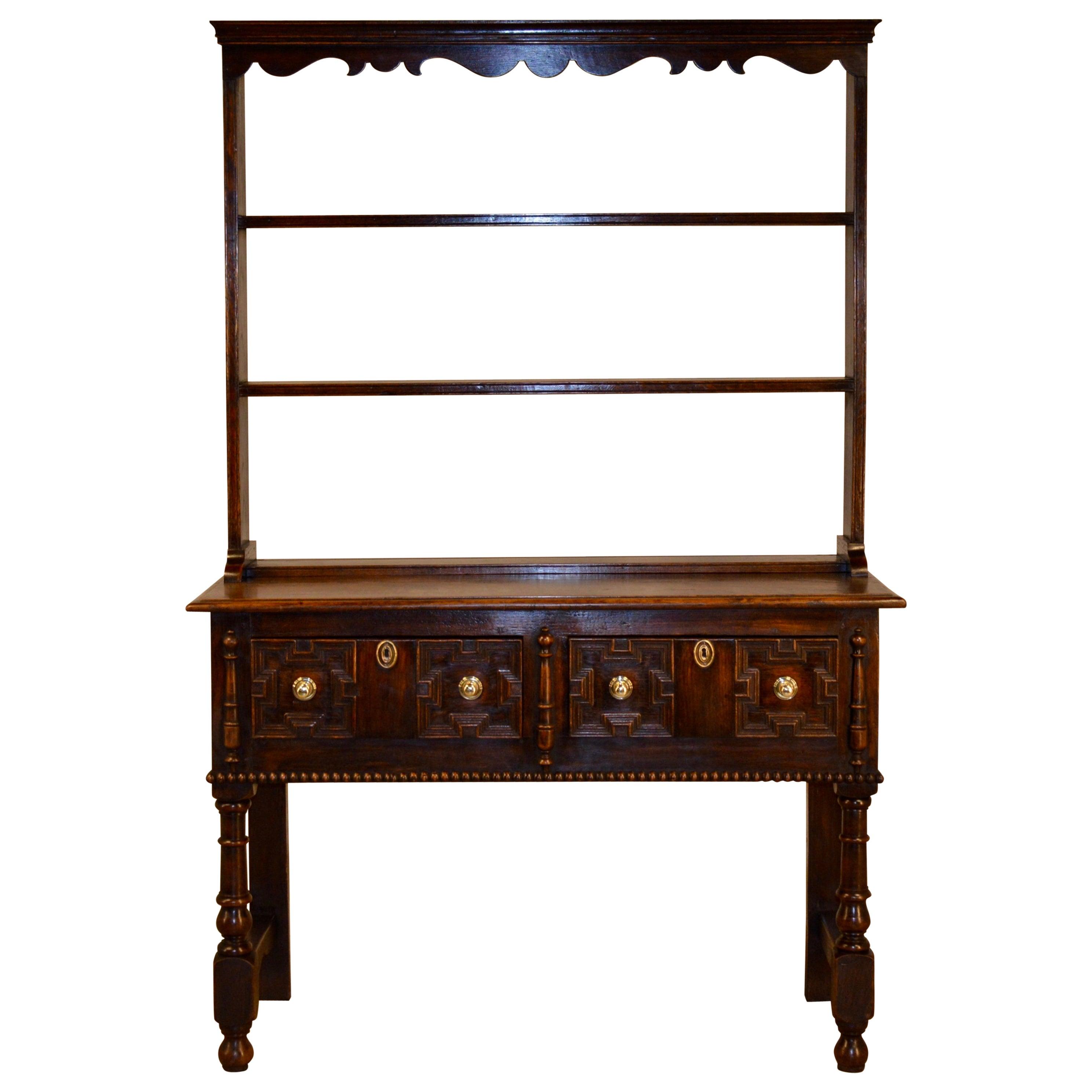 19th Century Oak Pewter Cupboard
