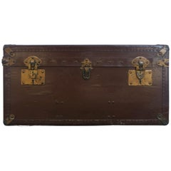 Early 20th Vellum Campaign Trunk Signed by Hall du Voyage, French