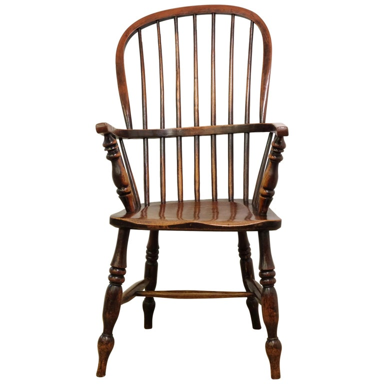 Mid-19th Century Lincolnshire Stick Back Windsor Chair in Ash and Elm, Original