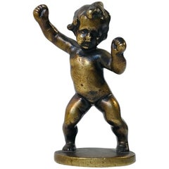 Signed Antique Bronze of Dancing Baby Boy, circa 1900