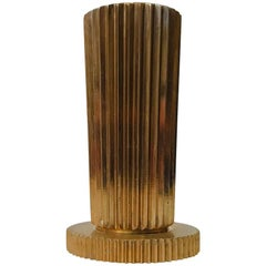 Danish Art Deco Fluted Bronze Vase from Tinos, 1930s