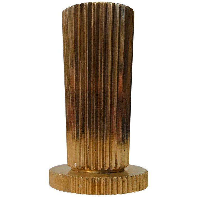 Danish Art Deco Fluted Bronze Vase from Tinos, 1930s For Sale