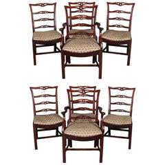 Set of 8 Antique Federal Style Mahogany Ribbon Back Dining Chairs, circa 1930