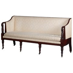 Antique Sheraton Classical Samuel McIntire School Carved Mahogany Sofa