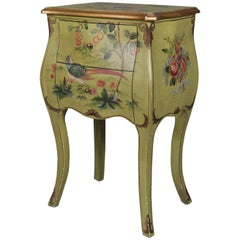 French Provincial Floral Painted and Gilt Bombe Stand with Roses and Pheasant