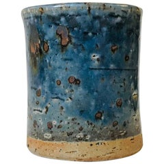 Stoneware Vase with Blue Glaze by Marianne Westman for Rörstrand, 1960s