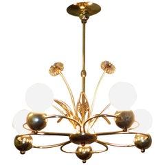 Paavo Tynell Atrributed Brass Chandelier, Finnish Mid-Century Modern