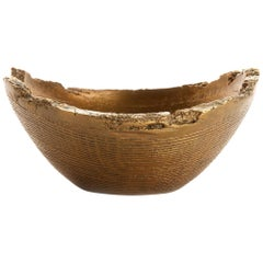 "Solid Bronze ""Juniper"" Bowl or Vessel with Wood Texture in Gold Patina, in Stock"