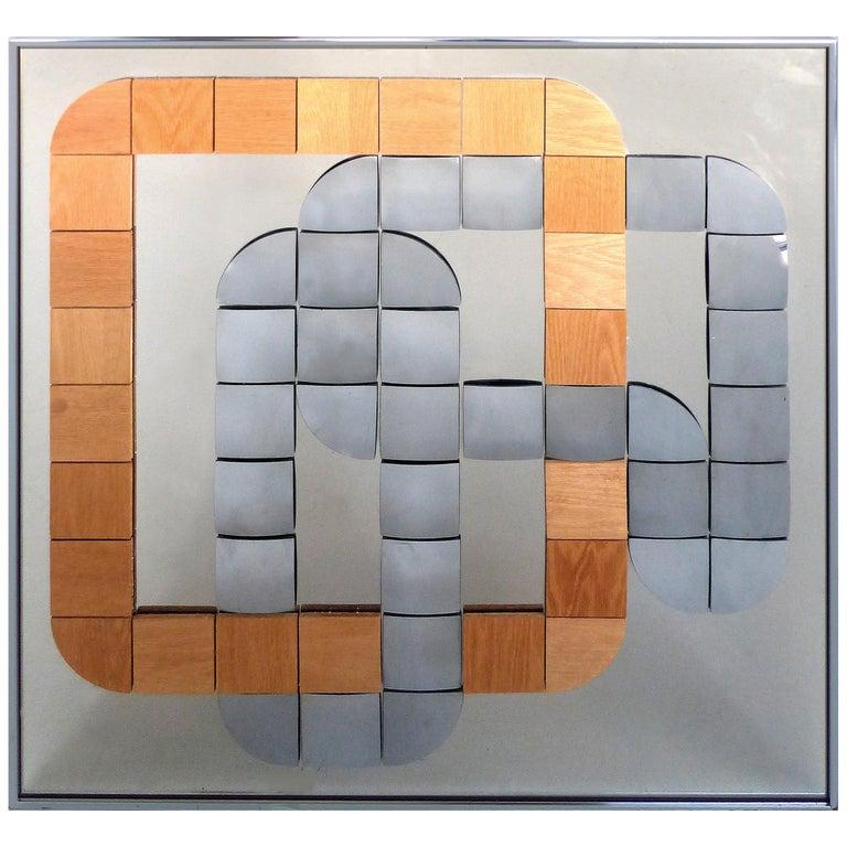 Hal Bienenfeld Geometric Op Art Decorative Mirrored Wall Sculpture For Sale