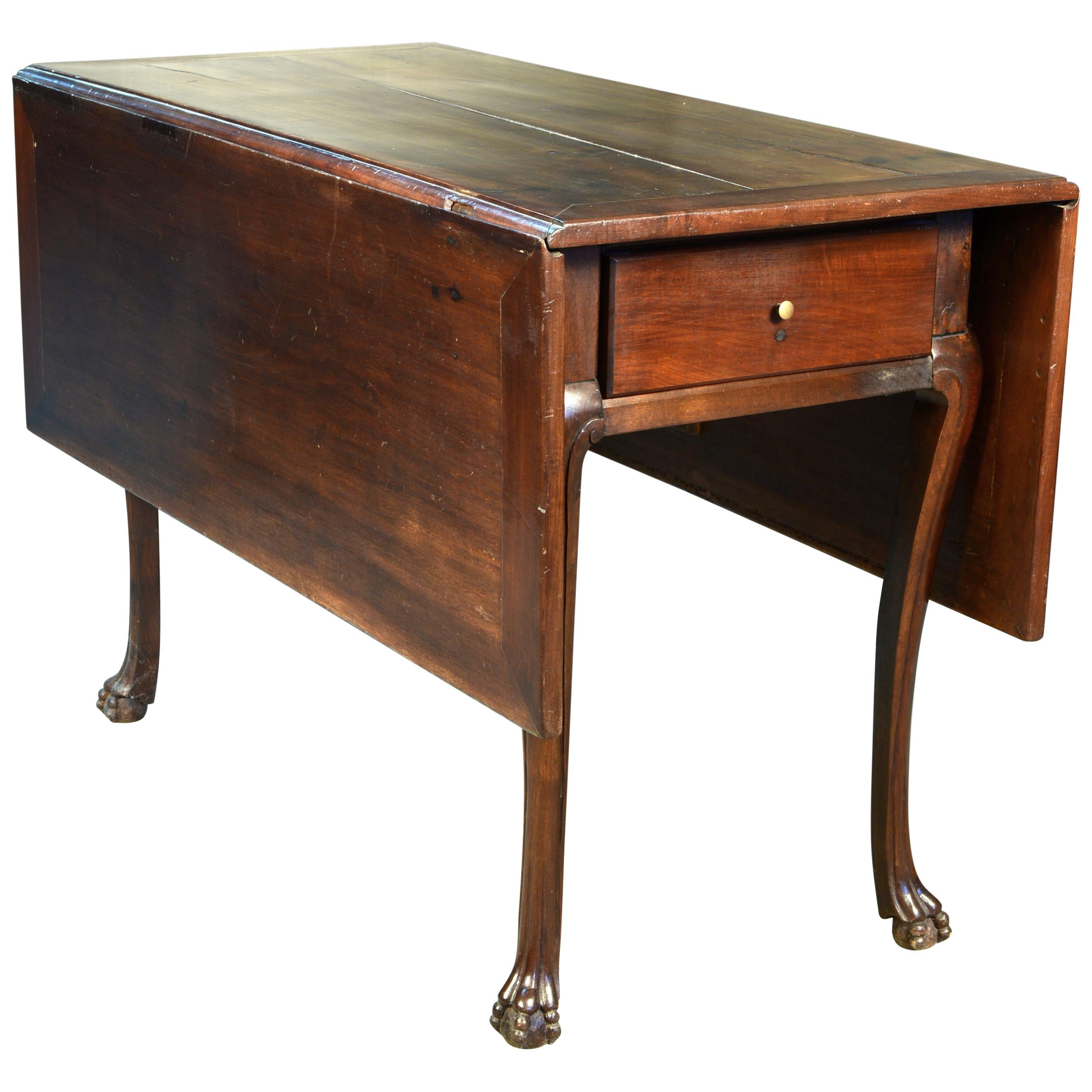 """Walnut Gate Leg Table with """"Claw and Ball"""" Legs, 19th Century"""
