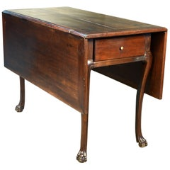 "Walnut Gate Leg Table with ""Claw and Ball"" Legs, 19th Century"