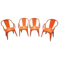 Mid-20th Century French Bistrot Metal Tolix Model C Chairs, 1940-1950