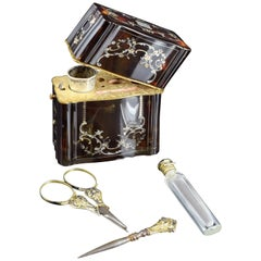 Tortoiseshell Case with Utensils, 19th Century