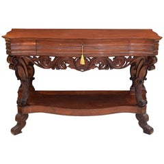 Mahogany Console Table with Drawer, England, 19th Century