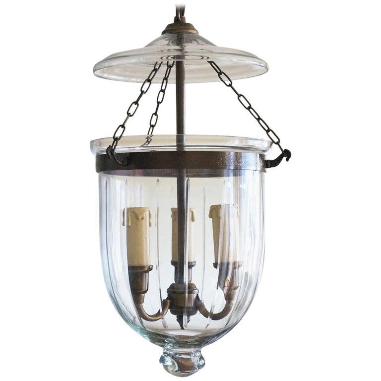 Cut Glass Bell Jar Lantern, England, circa 1930-1939 For Sale